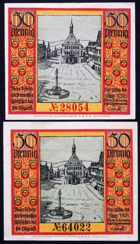 SCHORNDORF 1918 (exp. 1920 and exp. 1921) both variants 50 Pf German Notgeld