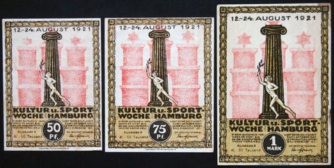 "HAMBURG 1921 ""Culture & Sport Week"" Series A 41-50,000 complete! German Notgeld"