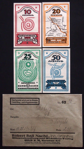 KOBERG 1921 complete series + RARE Robert Ball envelope! Notgeld Germany Schleswig-Holstein