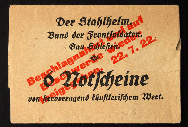 "GÖRLITZ 1922 ""Der Stahlhelm"" + ""CONFISCATED"" Envelope - Uncataloged!! German Notgeld"