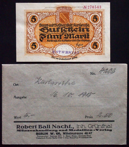 KARLSRUHE 1918 5 Mark Grossnotgeld in 1920s Robert Ball dealer envelope! Notgeld