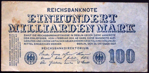 GERMANY 1923 100 Billion Mark P-126 Inflation Banknote 100 Milliarden