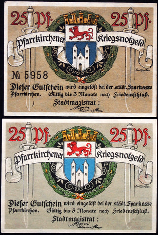 PFARRKIRCHEN 1918 2 diff. variants 25 Pf circulating Notgeld Germany Bavaria