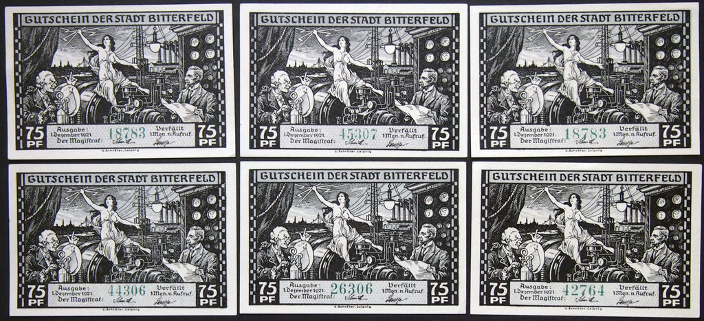 "BITTERFELD 1921 ""Goddess of Lightning"" 6x75 Pf complete set German Notgeld topless"