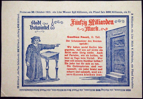 "VOHWINKEL 1923 RARE Specimen/Test Print ""Imperial Treasurer"" 50 Billion Mk Inflation Notgeld Goethe's Faust"