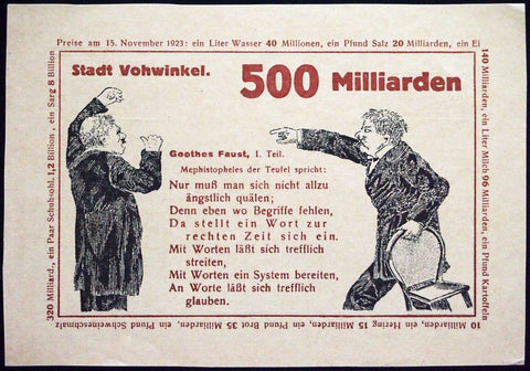 "VOHWINKEL 1923 RARE Specimen/Test Print ""Fight"" 500 Billion Mk Inflation Notgeld Goethe's Faust"