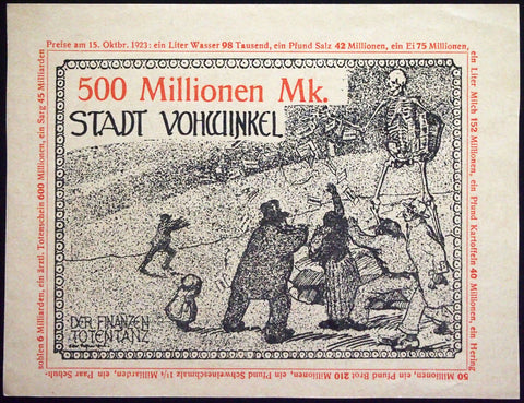 "VOHWINKEL 1923 RARE Specimen/Test Print ""Death Dance"" 100 Million Mk Inflation Notgeld #2"