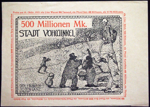 "VOHWINKEL 1923 RARE Specimen/Test Print ""Death Dance"" 100 Million Mk Inflation Notgeld"