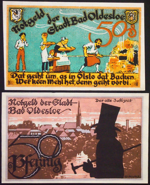 "BAD OLDESLOE 1921 ""Justizrat/Bakery/Salt,Mud, and Sulfur Baths"" Notgeld complete"