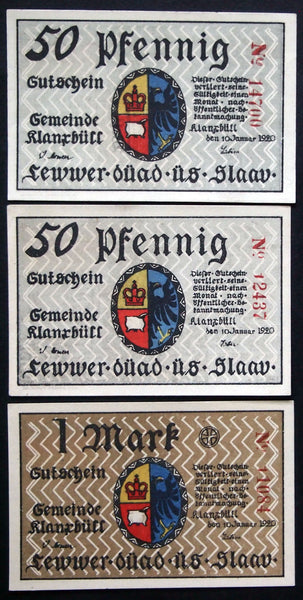 "KLANXBÜLL 1920 ""Flag of Frisia"" complete series + color variant, ALL rare watermark! Notgeld"
