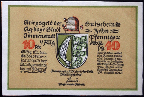 IMMENSTADT 1918 *UNCATALOGED SPECIMEN* Hand-Cut No Serial!!! German Notgeld