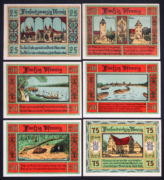 "AKEN 1921 ""Buildings, River, Beaver"" complete series Notgeld Germany"