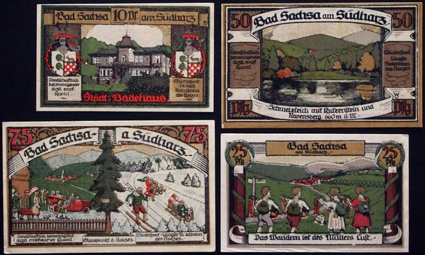 "BAD SACHSA 1921 ""Hiking, Skiing, Sledding, Driving"" complete brown set Notgeld Germany"