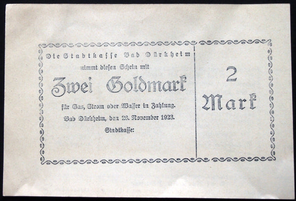 BAD DÜRKHEIM 1923 *XX-RARE* 2 Goldmark printed on 1904 Municipal Bond!!