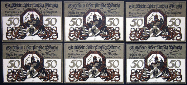 "DELITZSCH 1921 ""Attack of the Swedes"" complete series German Notgeld"