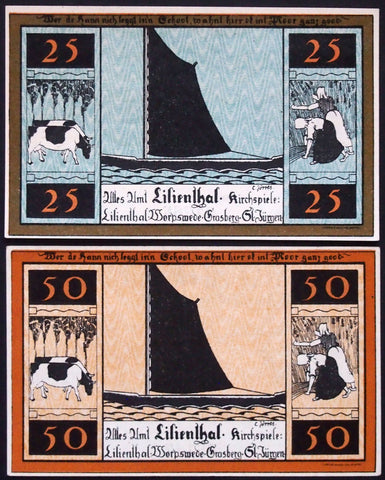 "LILIENTHAL 1921 ""Sailboats, Farming, Cows"" series D complete set Notgeld Germany"