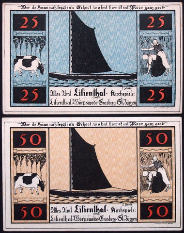 "LILIENTHAL 1921 ""Sailboats, Farming, Cows"" series C complete set Notgeld Germany"