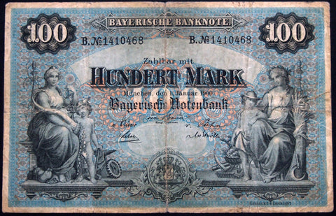 "MÜNCHEN (MUNICH) 1900 ""Bayerische Notenbank"" 100 Mark Bavaria German States Note B1410468"