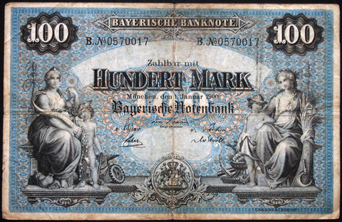 "MÜNCHEN (MUNICH) 1900 ""Bayerische Notenbank"" 100 Mark Bavaria German States Note B0570017"