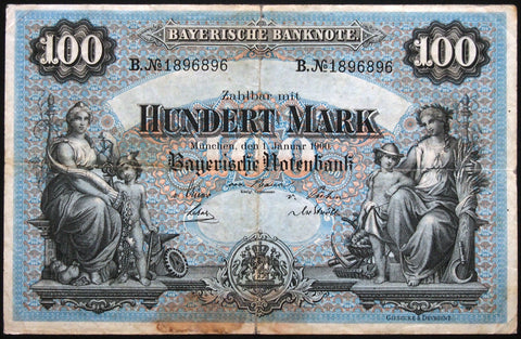 "MÜNCHEN (MUNICH) 1900 ""Bayerische Notenbank"" 100 Mark Bavaria German States Note B1896896"