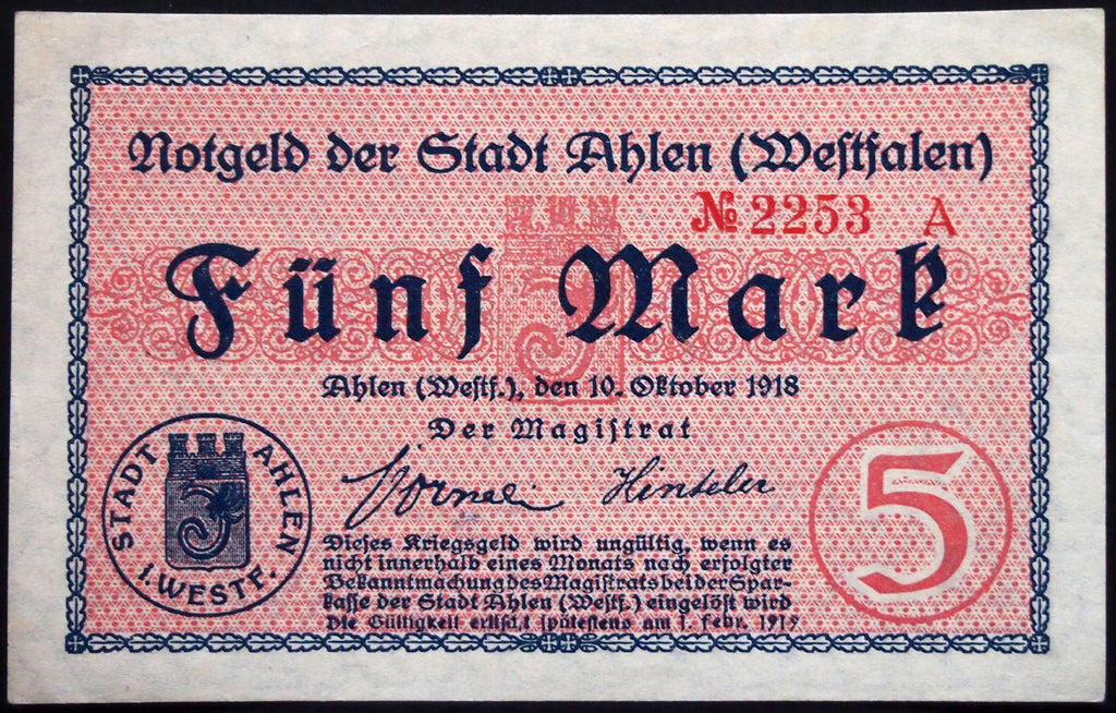 AHLEN 1918 5 Mark Grossnotgeld w/1919 exp. date German Notgeld