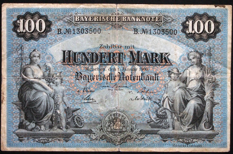 "MÜNCHEN (MUNICH) 1900 ""Bayerische Notenbank"" 100 Mark Bavaria German States Note B1303500"