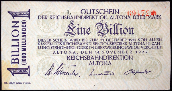 ALTONA REICHSBAHN 1923 1 Trillion Mark Railroad Inflation Notgeld Banknote Germany