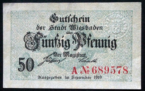 WIESBADEN 1919 50 Pf circulating Notgeld Germany