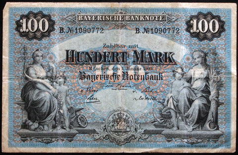 "MÜNCHEN (MUNICH) 1900 ""Bayerische Notenbank"" 100 Mark Bavaria German States Note B1090772"