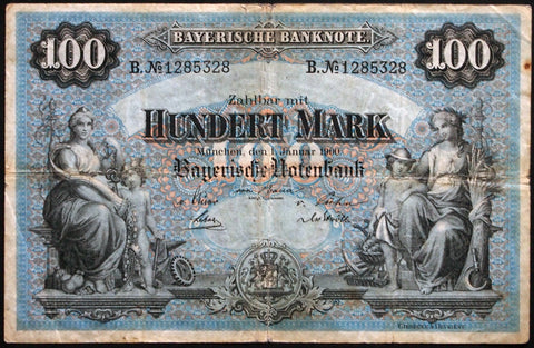 "MÜNCHEN (MUNICH) 1900 ""Bayerische Notenbank"" 100 Mark Bavaria German States Note B1285328"