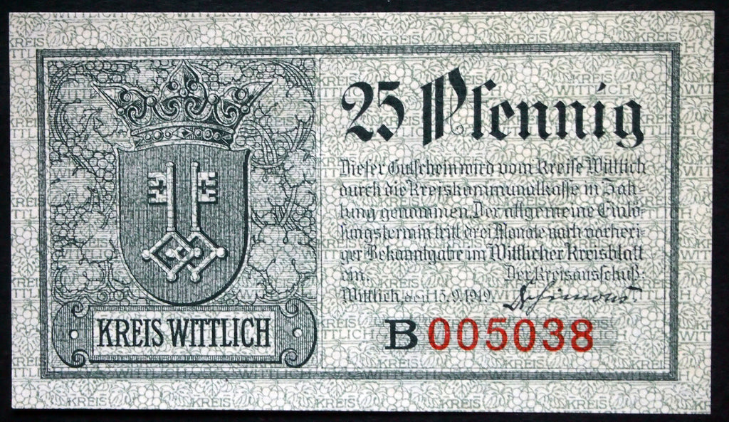 WITTLICH 1919 Series B 25 Pf circulating German Notgeld