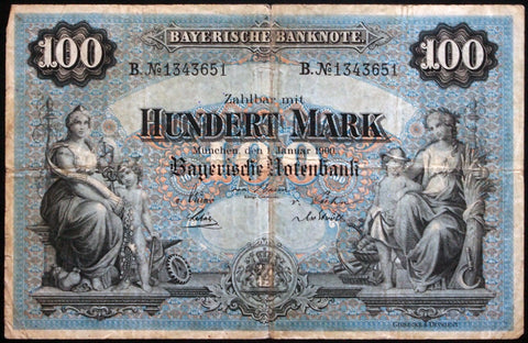 "MÜNCHEN (MUNICH) 1900 ""Bayerische Notenbank"" 100 Mark Bavaria German States Note B1343651"