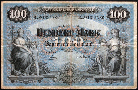 "MÜNCHEN (MUNICH) 1900 ""Bayerische Notenbank"" 100 Mark Bavaria German States Note B1321786"