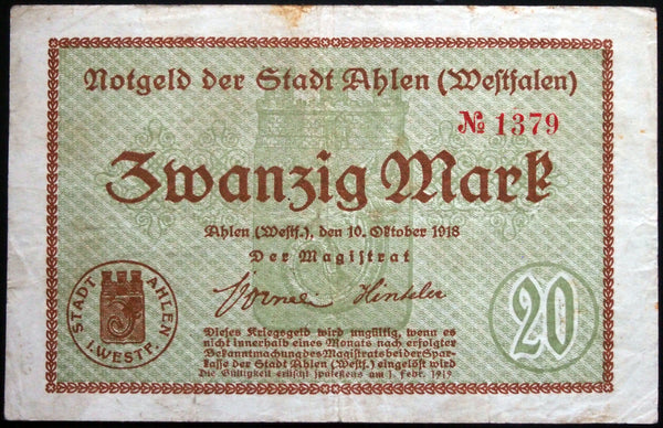 AHLEN 1918 20 Mark Grossnotgeld German Notgeld