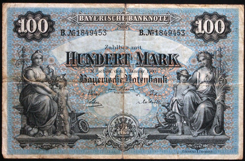 "MÜNCHEN (MUNICH) 1900 ""Bayerische Notenbank"" 100 Mark Bavaria German States Note B1849453"