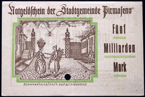 "PIRMASENS ""Women Selling Shoes in Old Pirmasens"" 1923 5 Billion Mark Inflation Notgeld"
