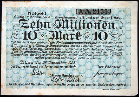 ZITTAU 1923 10 Million Mark Inflation Notgeld German Banknote