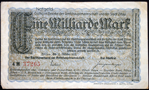 ZITTAU 1923 1 Billion Mark Inflation Notgeld German Banknote