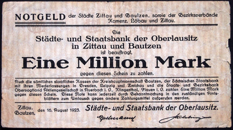 ZITTAU and BAUTZEN 1923 1 Million Mark Inflation Notgeld German Banknote