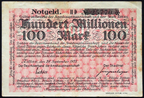 ZITTAU 1923 100 Million Mark Inflation Notgeld German Banknote
