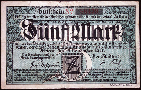 ZITTAU 1918 5 Mark Grossnotgeld German Notgeld Banknote