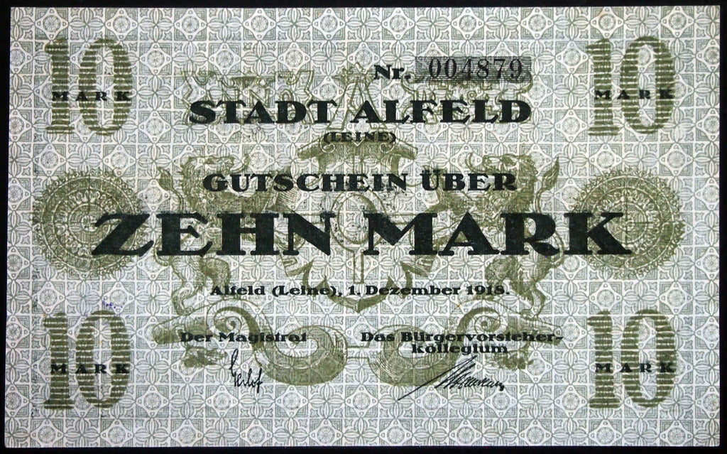ALFELD 1918 10 Mark Grossnotgeld German Notgeld