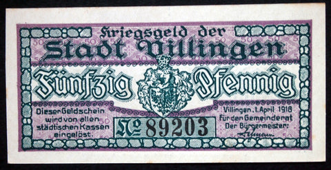 VILLINGEN 1918 50 Pf circulating German Notgeld
