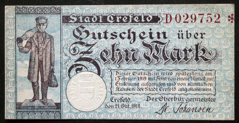 "CREFELD 1918 ""Silk Weaver"" 10 Mark Grossnotgeld German Notgeld Banknote"