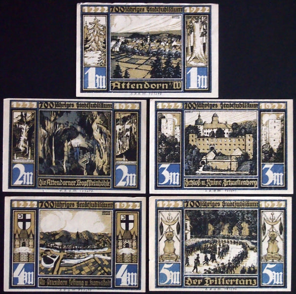"ATTENDORN 1922 rare signed/dated variants! ""City Views"" complete series Notgeld Germany"