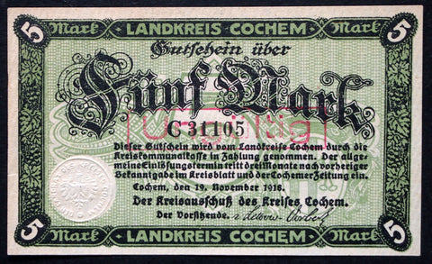 COCHEM 1918 5 Mark Grossnotgeld German Notgeld Banknote