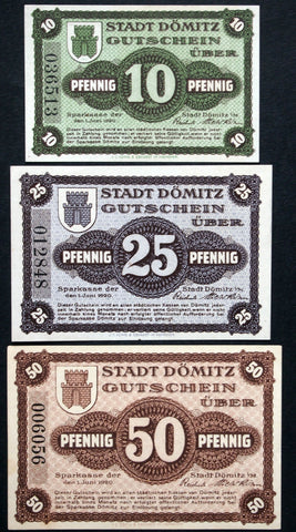 DÖMITZ 1920 complete set circulating German Notgeld Domitz
