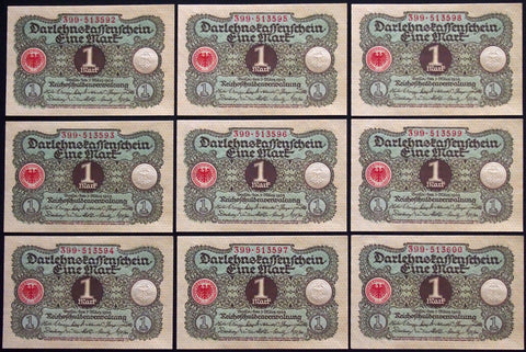 GERMANY 1920 9pcs consecutive serials! 1 Mark P-58 banknotes 399-513592