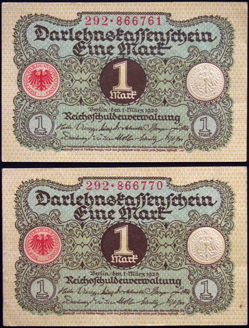 GERMANY 1920 2pcs consecutive serials! 1 Mark P-58 banknotes 292-866761
