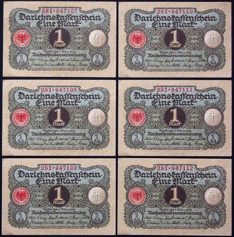 GERMANY 1920 6pcs consecutive serials! 1 Mark P-58 banknotes 281-947107
